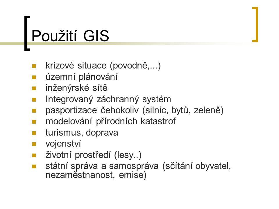 Použití GIS krizové situace (povodně,...) územní plánování inženýrské sítě Integrovaný záchranný systém pasportizace čehokoliv (silnic, bytů, zeleně)