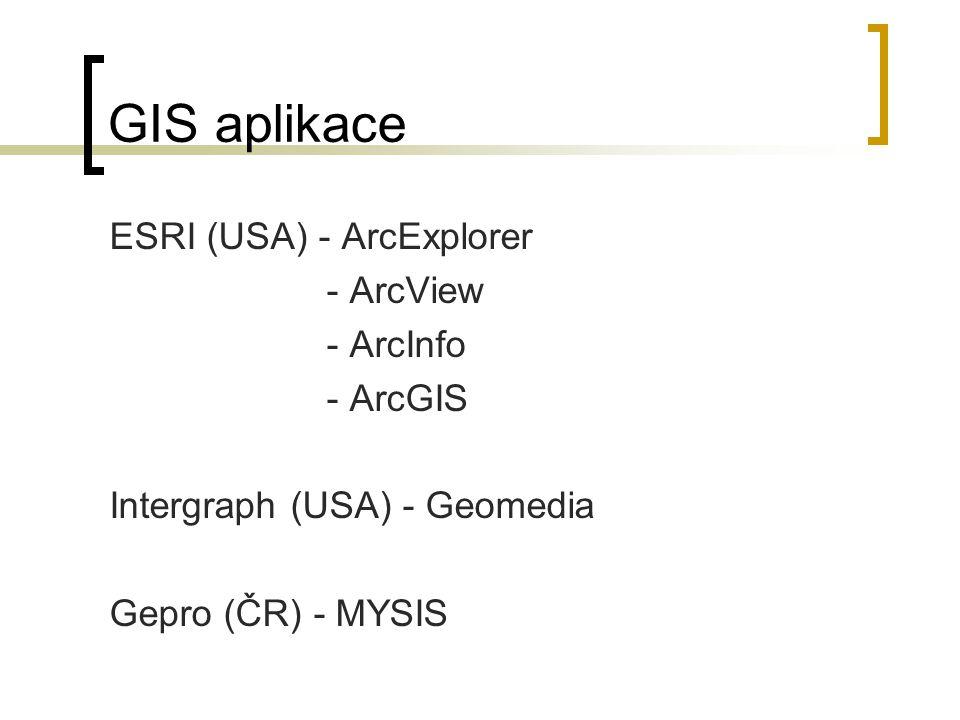 GIS aplikace ESRI (USA) - ArcExplorer - ArcView - ArcInfo - ArcGIS Intergraph (USA) - Geomedia Gepro (ČR) - MYSIS