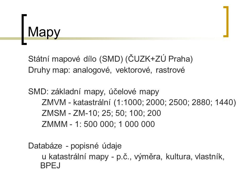 Mapy Státní mapové dílo (SMD) (ČUZK+ZÚ Praha) Druhy map: analogové, vektorové, rastrové SMD: základní mapy, účelové mapy ZMVM - katastrální (1:1000; 2