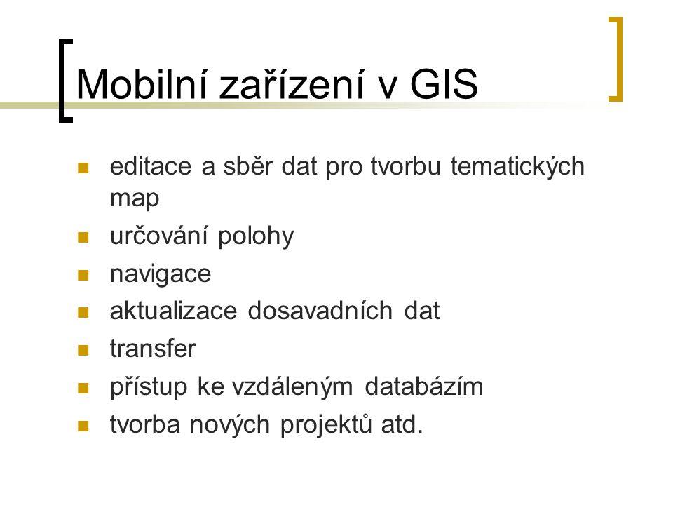 Mobilní zařízení v GIS editace a sběr dat pro tvorbu tematických map určování polohy navigace aktualizace dosavadních dat transfer přístup ke vzdálený