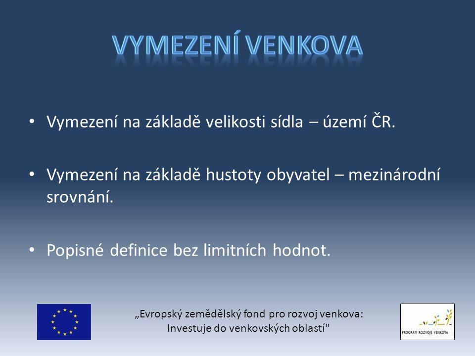Vymezení na základě velikosti sídla – území ČR.