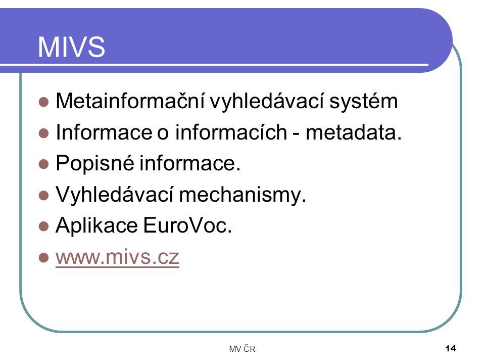 MV ČR14 MIVS Metainformační vyhledávací systém Informace o informacích - metadata. Popisné informace. Vyhledávací mechanismy. Aplikace EuroVoc. www.mi