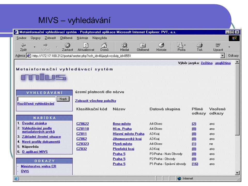 MV ČR15 MIVS – vyhledávání