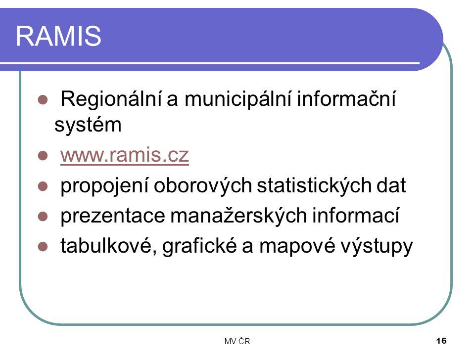 MV ČR16 RAMIS Regionální a municipální informační systém www.ramis.cz propojení oborových statistických dat prezentace manažerských informací tabulkov