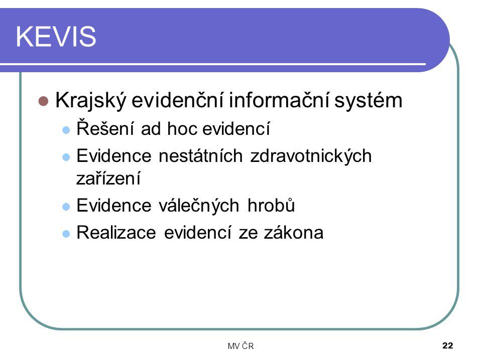 MV ČR22 KEVIS Krajský evidenční informační systém Řešení ad hoc evidencí Evidence nestátních zdravotnických zařízení Evidence válečných hrobů Realizac