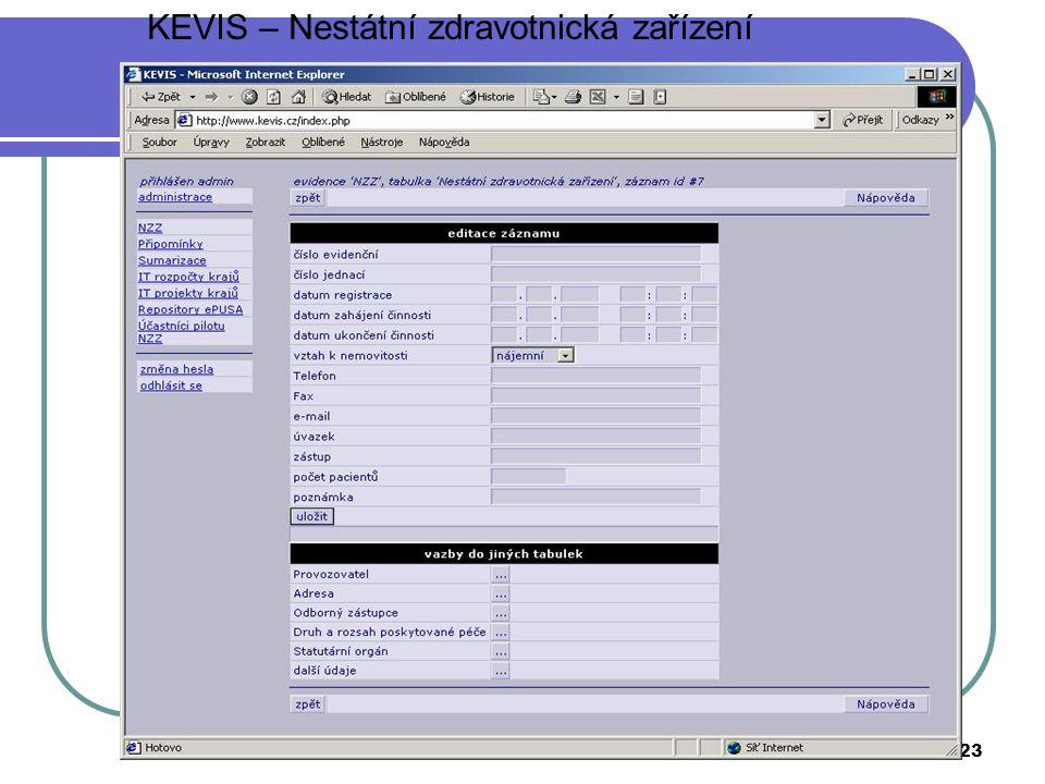 MV ČR23 KEVIS – Nestátní zdravotnická zařízení