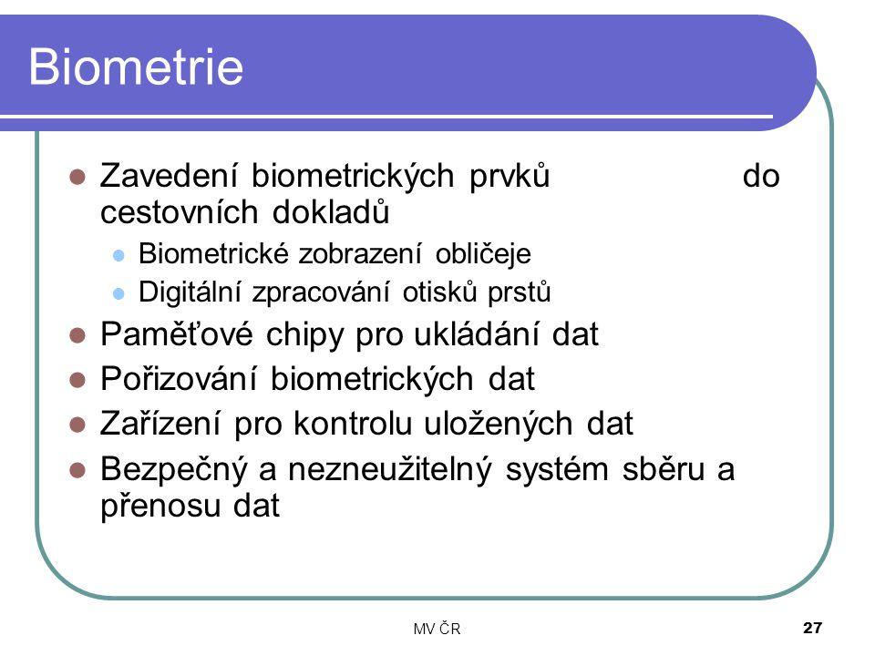MV ČR27 Biometrie Zavedení biometrických prvků do cestovních dokladů Biometrické zobrazení obličeje Digitální zpracování otisků prstů Paměťové chipy p