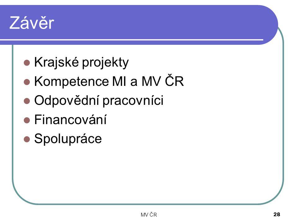 MV ČR28 Závěr Krajské projekty Kompetence MI a MV ČR Odpovědní pracovníci Financování Spolupráce