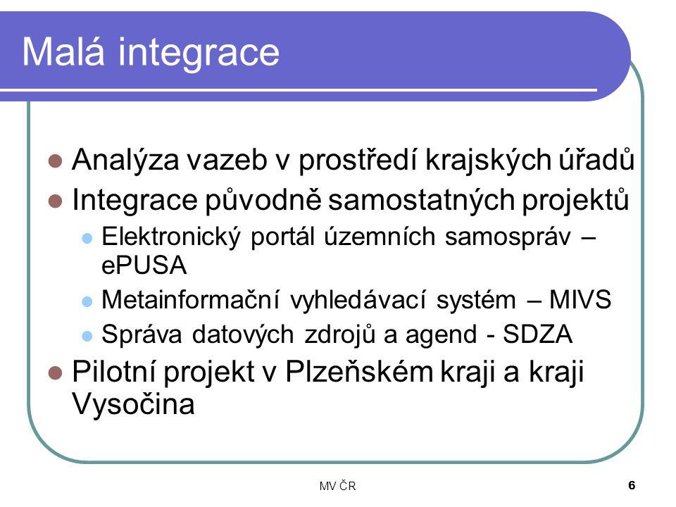 MV ČR6 Malá integrace Analýza vazeb v prostředí krajských úřadů Integrace původně samostatných projektů Elektronický portál územních samospráv – ePUSA