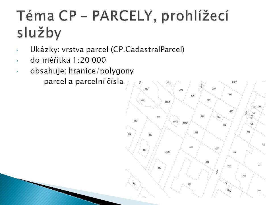 Ukázky: vrstva parcel (CP.CadastralParcel) do měřítka 1:20 000 obsahuje: hranice/polygony parcel a parcelní čísla