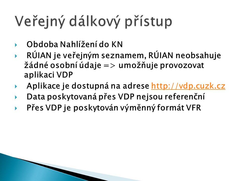  Obdoba Nahlížení do KN  RÚIAN je veřejným seznamem, RÚIAN neobsahuje žádné osobní údaje => umožňuje provozovat aplikaci VDP  Aplikace je dostupná