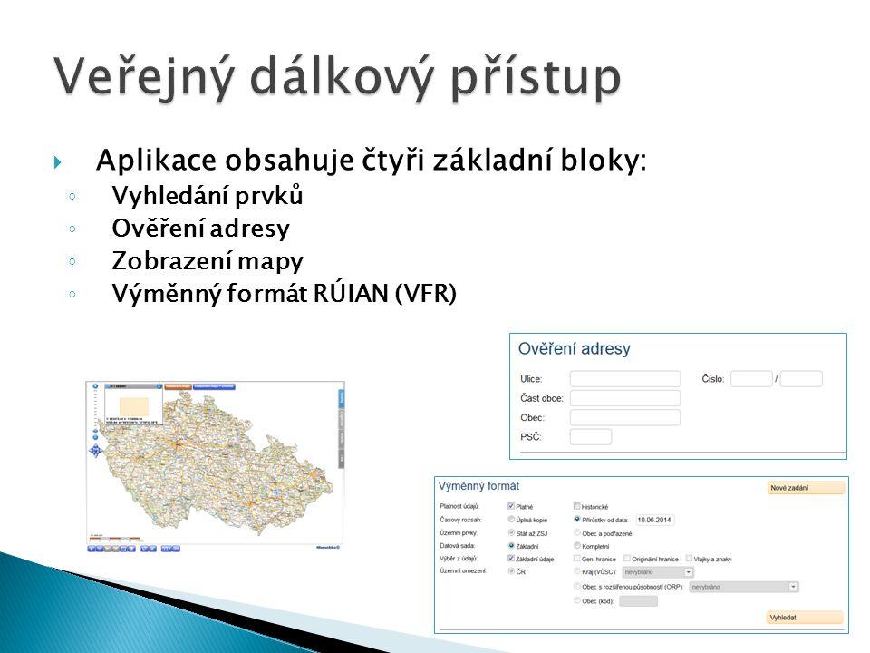  Aplikace obsahuje čtyři základní bloky: ◦ Vyhledání prvků ◦ Ověření adresy ◦ Zobrazení mapy ◦ Výměnný formát RÚIAN (VFR)