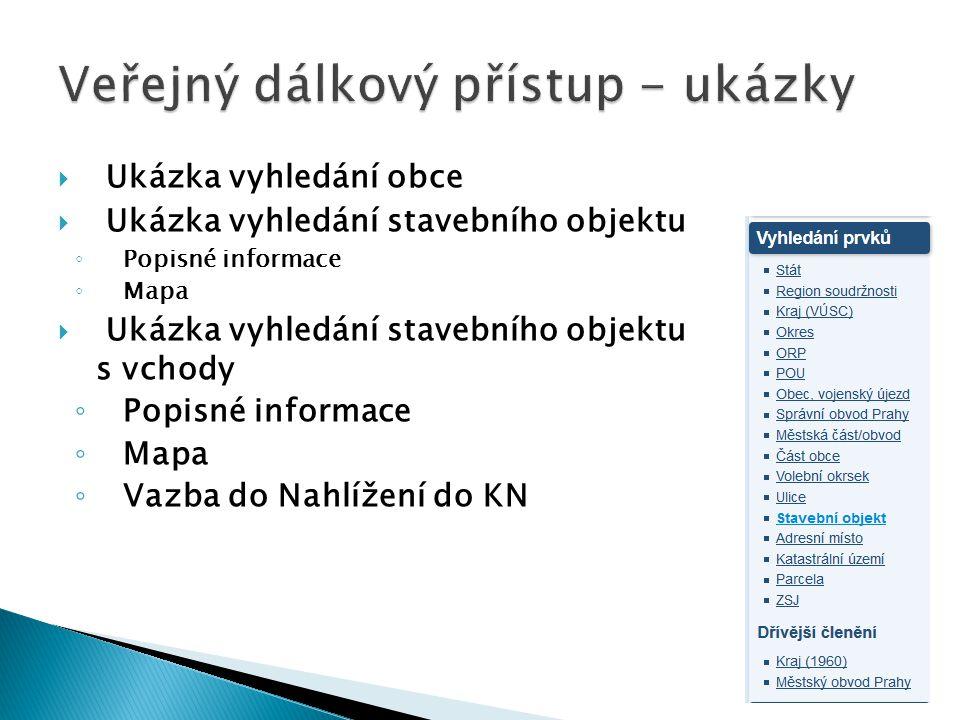 Spuštěny v září 2013 Jsou k dispozici zdarma a bez nutnosti registrace Data jsou aktualizována ONLINE Jedná se o národní sadu, která rozšiřuje INSPIRE sadu AU K dispozici zatím pouze prohlížecí (WMS) služby http://services.cuzk.cz/wms/local-ux- wms.asp http://services.cuzk.cz/wms/local-ux- wms.asp