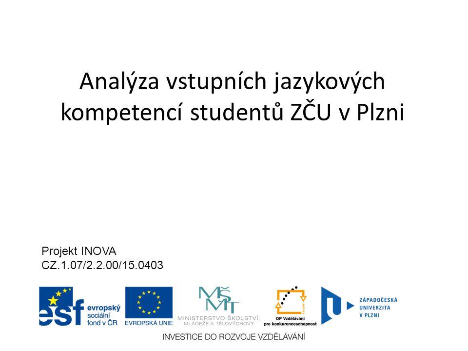 Analýza vstupních jazykových kompetencí studentů ZČU v Plzni Projekt INOVA CZ.1.07/2.2.00/15.0403