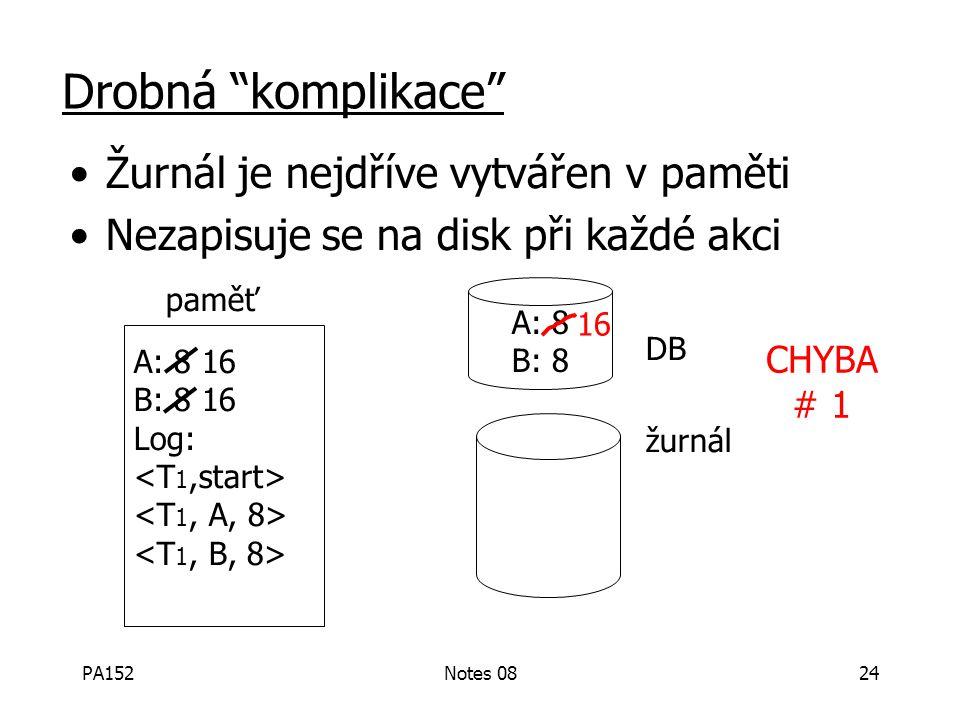 PA152Notes 0823 T 1 :Read (A,t); t  t  2 A=B Write (A,t); Read (B,t); t  t  2 Write (B,t); Output (A); Output (B); A:8 B:8 A:8 B:8 paměť disk žurn