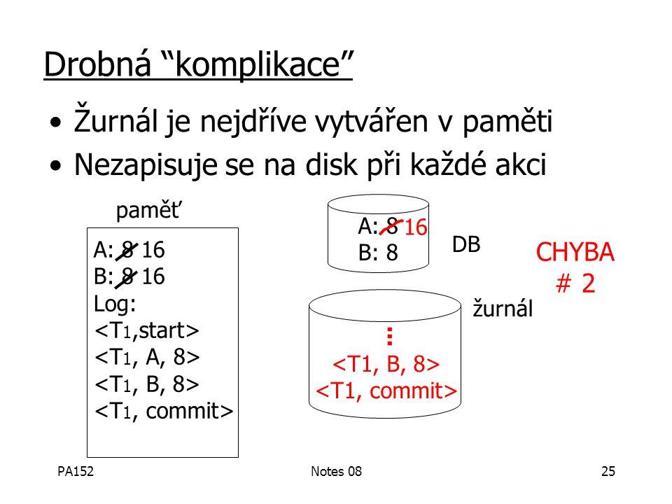 """PA152Notes 0824 Drobná """"komplikace"""" Žurnál je nejdříve vytvářen v paměti Nezapisuje se na disk při každé akci paměť DB žurnál A: 8 16 B: 8 16 Log: A:"""