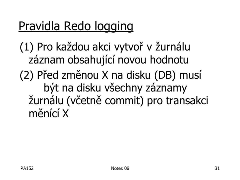 PA152Notes 0830 Redo logging (odložený zápis) T 1: Read(A,t); t t  2; write (A,t); Read(B,t); t t  2; write (B,t); Output(A); Output(B) A: 8 B: 8 A: