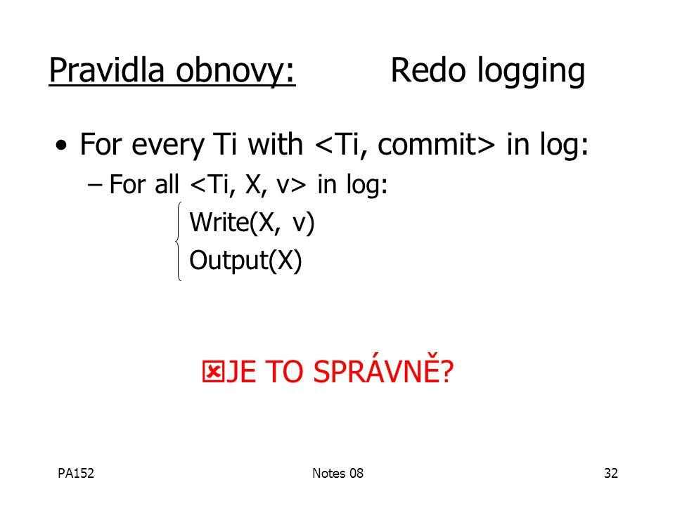 PA152Notes 0831 Pravidla Redo logging (1) Pro každou akci vytvoř v žurnálu záznam obsahující novou hodnotu (2) Před změnou X na disku (DB) musí být na