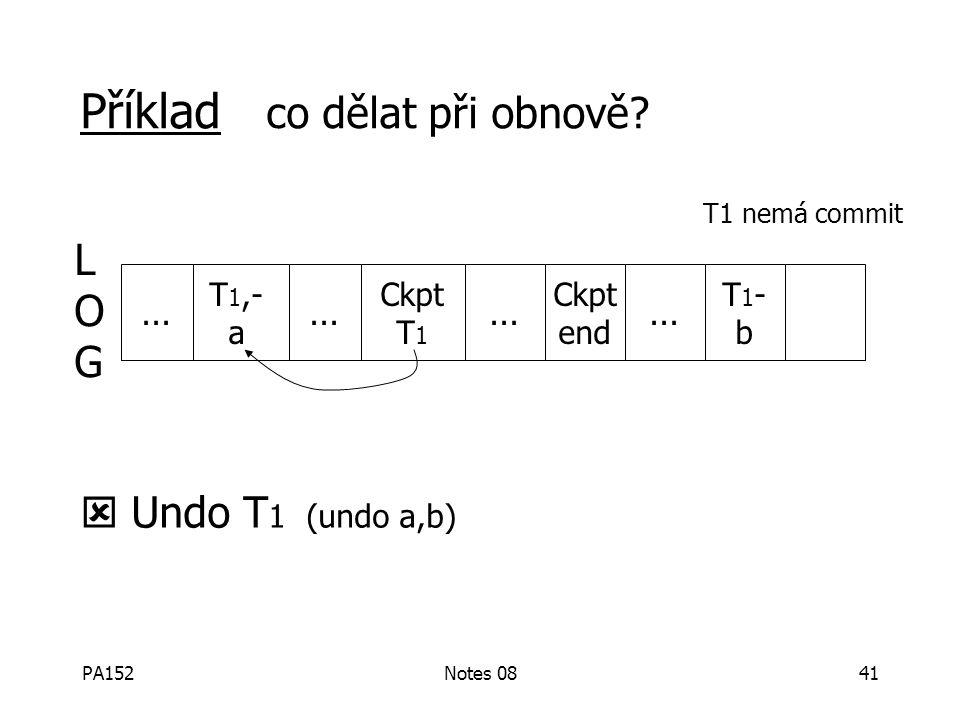 PA152Notes 0840 Průběžné kontrolní body L O G začátky transakcízápis bloků s nezapsanými modifikacemi Start-ckpt active TR: T1,T2,... end ckpt...