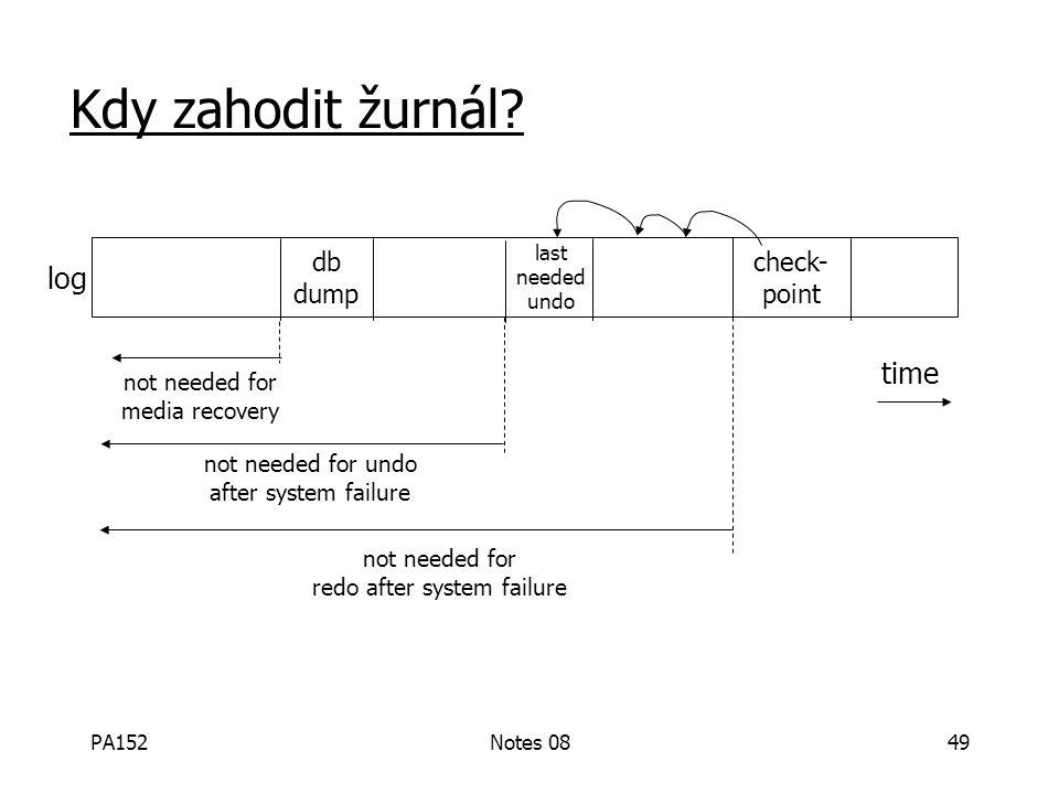 PA152Notes 0848 Example #3: DB Dump + Log záložní DB aktivní DB žurnál Při výpadku, – obnova DB ze zálohy – zopakuj Redo pro každou nedokončenou trasn
