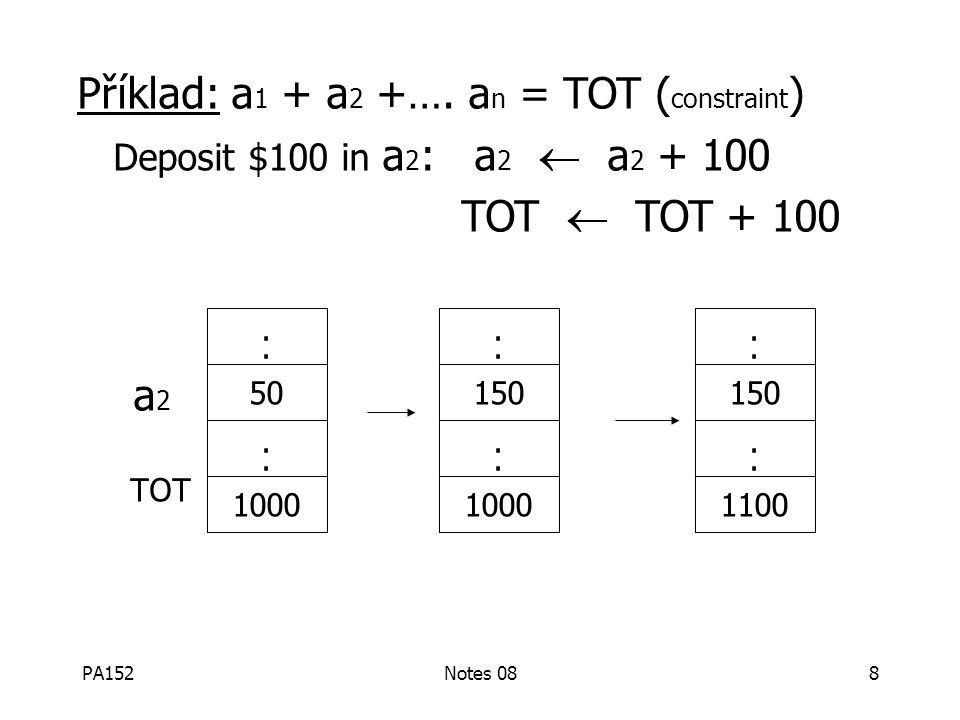 PA152Notes 087  v každém případě pokračuj s kontrolou podmínek Pozorování: DB nemůže být konzistentní stále. Příklad: a 1 + a 2 +…. a n = TOT ( const