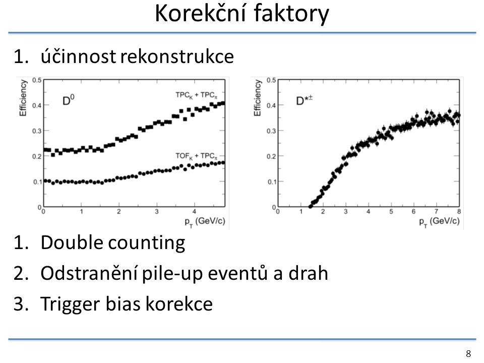 Korekční faktory 1.účinnost rekonstrukce 1.Double counting 2.Odstranění pile-up eventů a drah 3.Trigger bias korekce 8