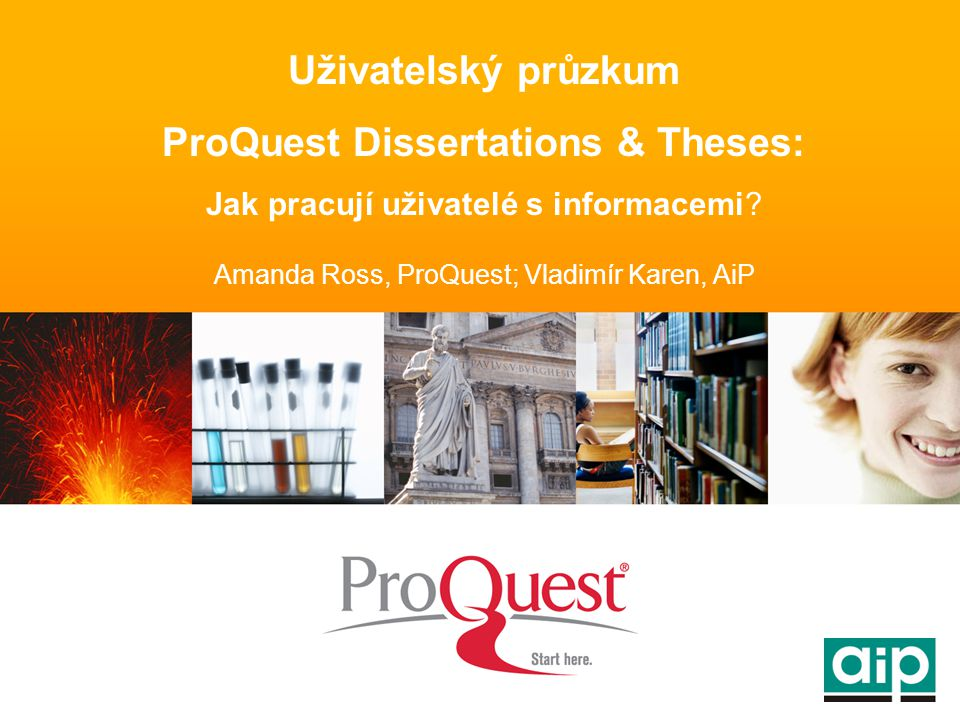 Uživatelský průzkum ProQuest Dissertations & Theses: Jak pracují uživatelé s informacemi.