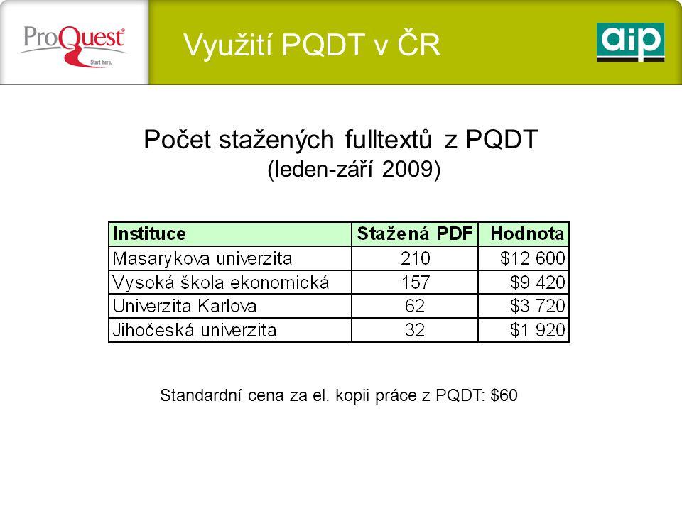 Využití PQDT v ČR Počet stažených fulltextů z PQDT (leden-září 2009) Standardní cena za el.