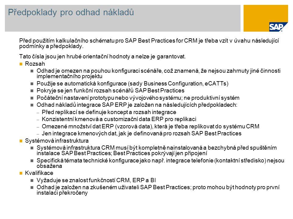 Předpoklady pro odhad nákladů Před použitím kalkulačního schématu pro SAP Best Practices for CRM je třeba vzít v úvahu následující podmínky a předpoklady.