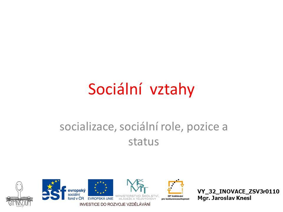 Sociální vztahy socializace, sociální role, pozice a status VY_32_INOVACE_ZSV3r0110 Mgr. Jaroslav Knesl
