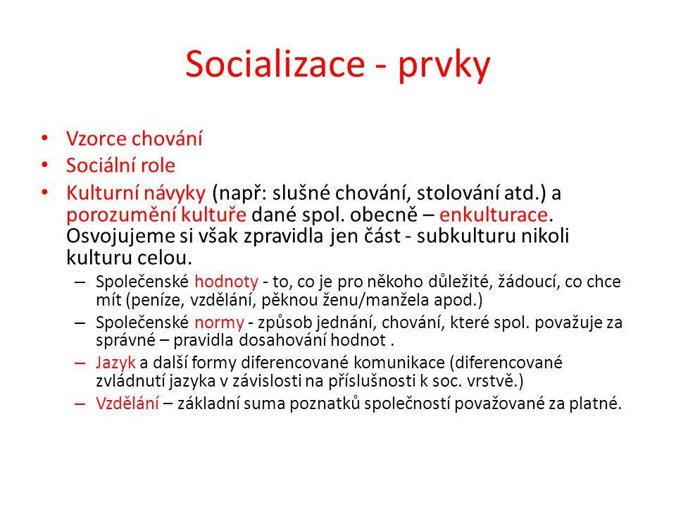 Socializace - prvky Vzorce chování Sociální role Kulturní návyky (např: slušné chování, stolování atd.) a porozumění kultuře dané spol. obecně – enkul