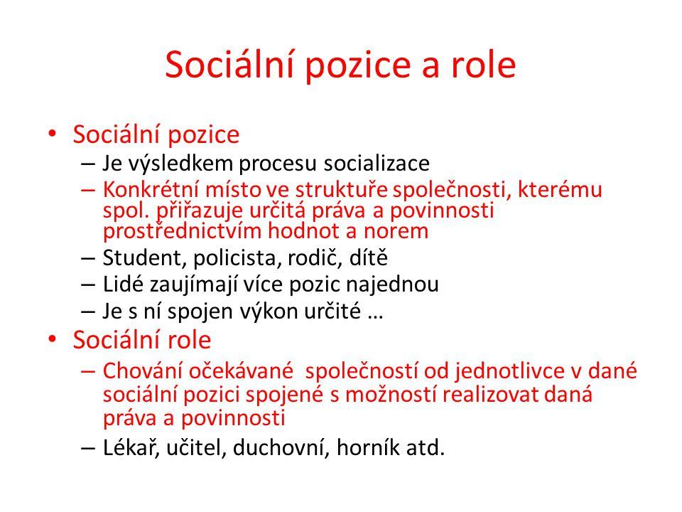 Sociální pozice a role Sociální pozice – Je výsledkem procesu socializace – Konkrétní místo ve struktuře společnosti, kterému spol. přiřazuje určitá p