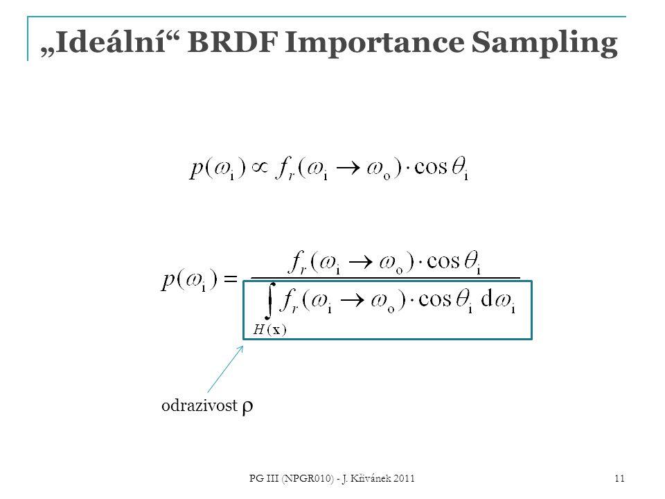 """""""Ideální"""" BRDF Importance Sampling PG III (NPGR010) - J. Křivánek 2011 11 odrazivost """