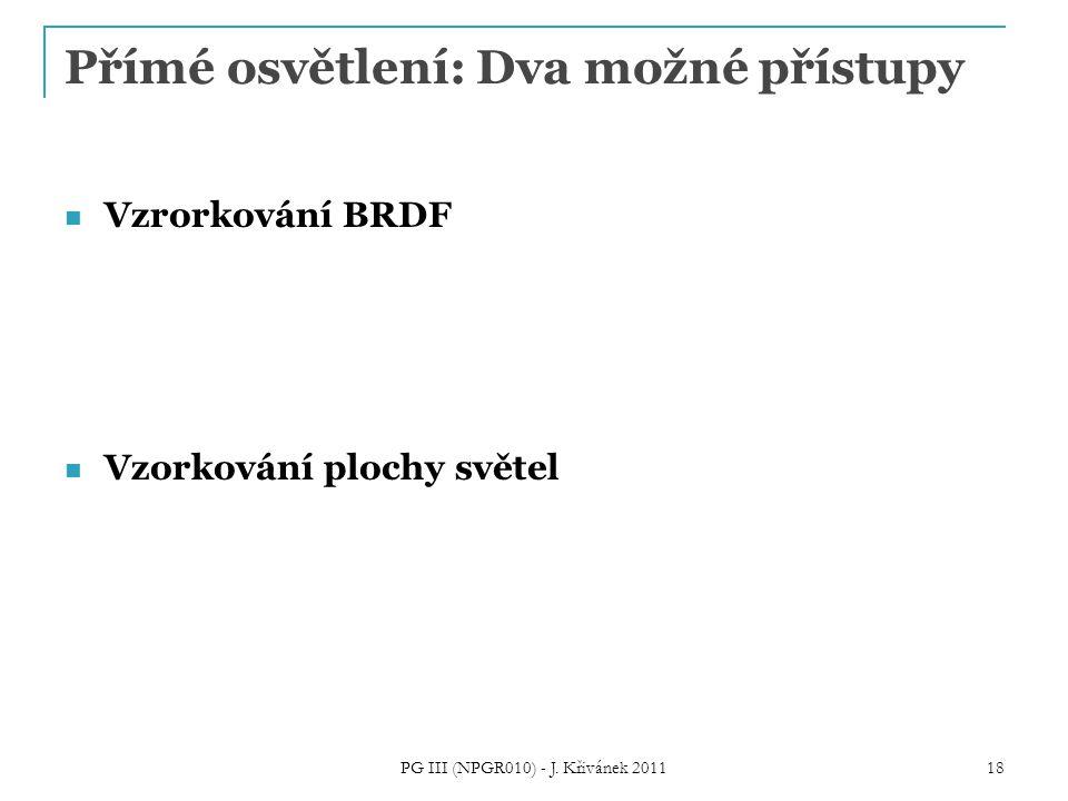 Přímé osvětlení: Dva možné přístupy Vzrorkování BRDF Vzorkování plochy světel PG III (NPGR010) - J. Křivánek 2011 18
