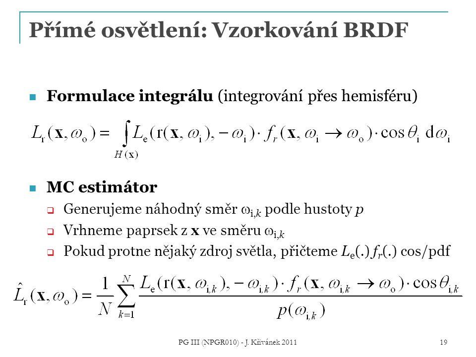 Přímé osvětlení: Vzorkování BRDF Formulace integrálu (integrování přes hemisféru) MC estimátor  Generujeme náhodný směr  i,k podle hustoty p  Vrhne
