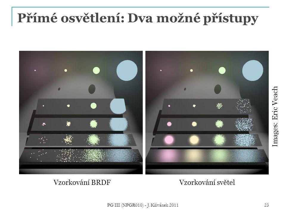 Přímé osvětlení: Dva možné přístupy PG III (NPGR010) - J. Křivánek 2011 23 Images: Eric Veach Vzorkování BRDFVzorkování světel