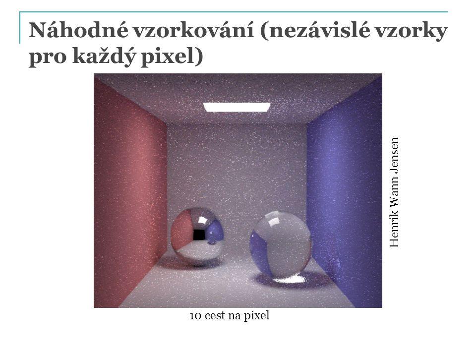 Náhodné vzorkování (nezávislé vzorky pro každý pixel) Henrik Wann Jensen 10 cest na pixel