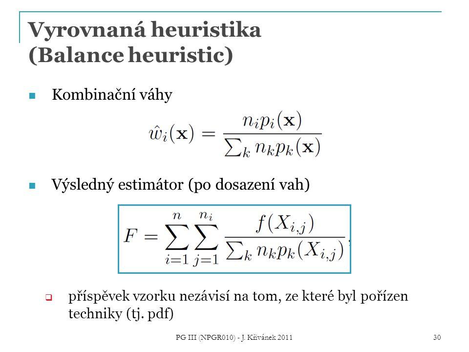 Vyrovnaná heuristika (Balance heuristic) Kombinační váhy Výsledný estimátor (po dosazení vah)  příspěvek vzorku nezávisí na tom, ze které byl pořízen