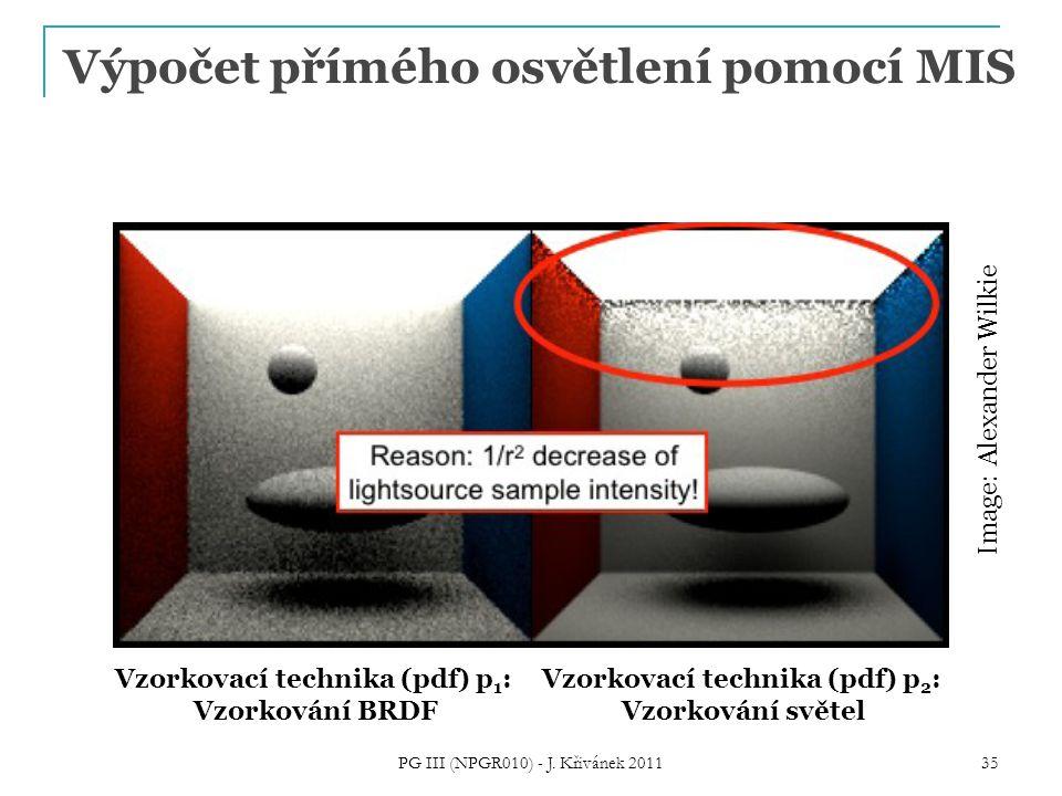 Výpočet přímého osvětlení pomocí MIS PG III (NPGR010) - J. Křivánek 2011 35 Vzorkovací technika (pdf) p 1 : Vzorkování BRDF Vzorkovací technika (pdf)