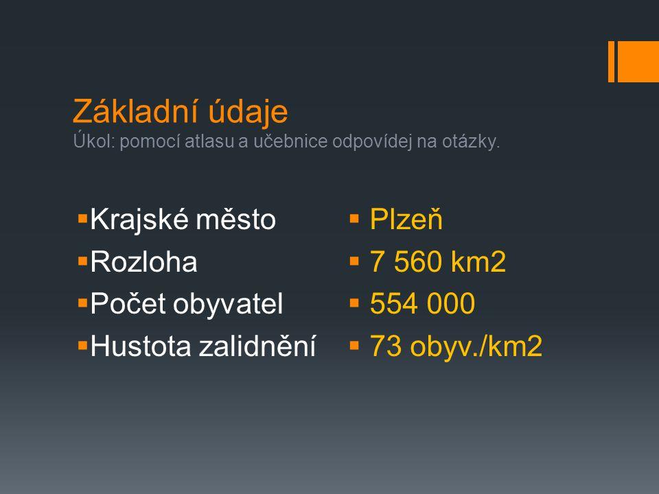 Základní údaje Úkol: pomocí atlasu a učebnice odpovídej na otázky.  Krajské město  Rozloha  Počet obyvatel  Hustota zalidnění  Plzeň  7 560 km2