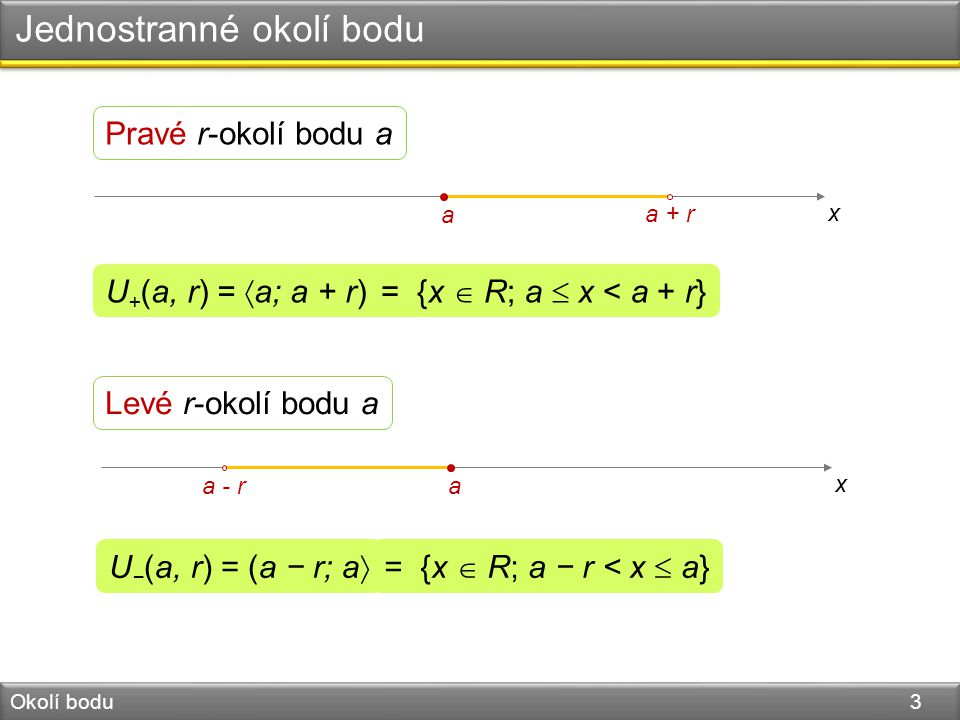 Jednostranné okolí bodu, kde Okolí bodu 4 x a a + r U + (a, r) − {a} = (a; a + r) x  ax  a = {x  R; a < x < a + r} x a a - r Levé r-okolí bodu a bez bodu a U − (a, r) − {a} = (a − r; a) = {x  R; a − r < x < a} Pravé r-okolí bodu a bez bodu a