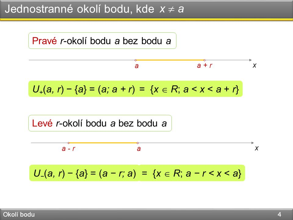 Úloha 1 Okolí bodu 5 Charakterizujte intervaly a) (3,7), b)  6,9) a (3,6  jako okolí bodu.