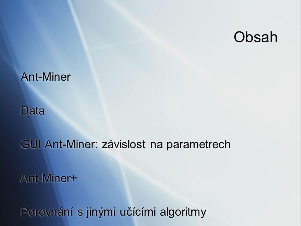 Obsah Ant-Miner Data GUI Ant-Miner: závislost na parametrech Ant-Miner+ Porovnání s jinými učícími algoritmy Ant-Miner Data GUI Ant-Miner: závislost n