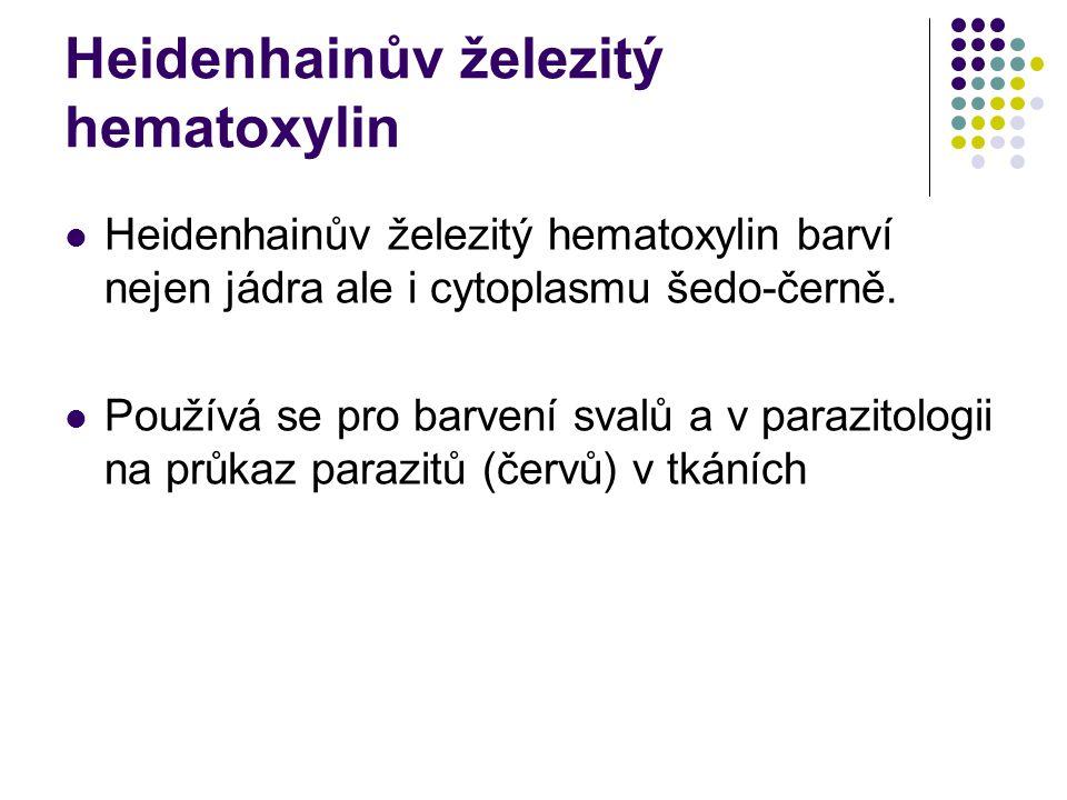 Heidenhainův železitý hematoxylin Heidenhainův železitý hematoxylin barví nejen jádra ale i cytoplasmu šedo-černě. Používá se pro barvení svalů a v pa