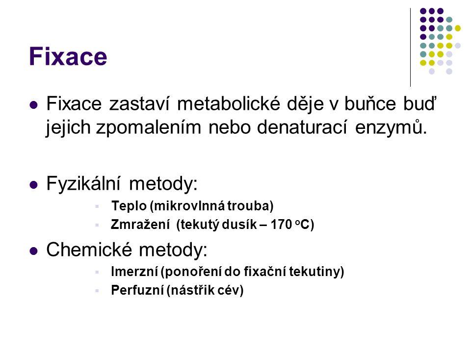 Fixace Fixace zastaví metabolické děje v buňce buď jejich zpomalením nebo denaturací enzymů. Fyzikální metody:  Teplo (mikrovlnná trouba)  Zmražení