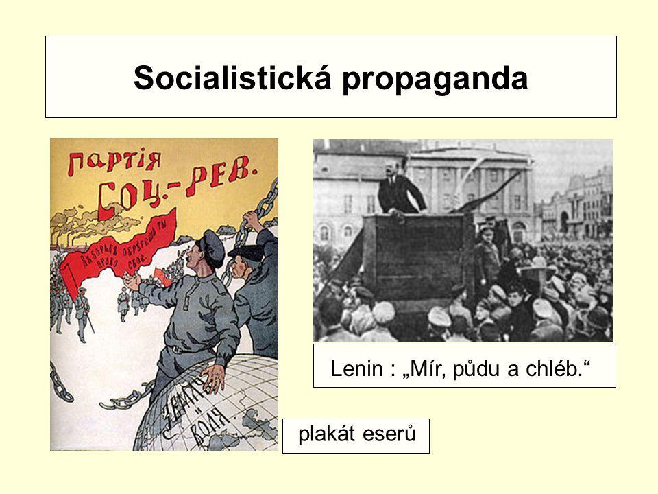 """Socialistická propaganda Lenin : """"Mír, půdu a chléb."""" plakát eserů"""
