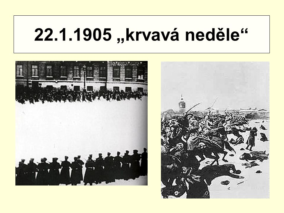 Výsledek revoluce 1905 - 1907 a) vznik parlamentu – dumy b) provedení zemědělské reformy c) omezené zavedení občanských svobod d) zachována velká moc cara