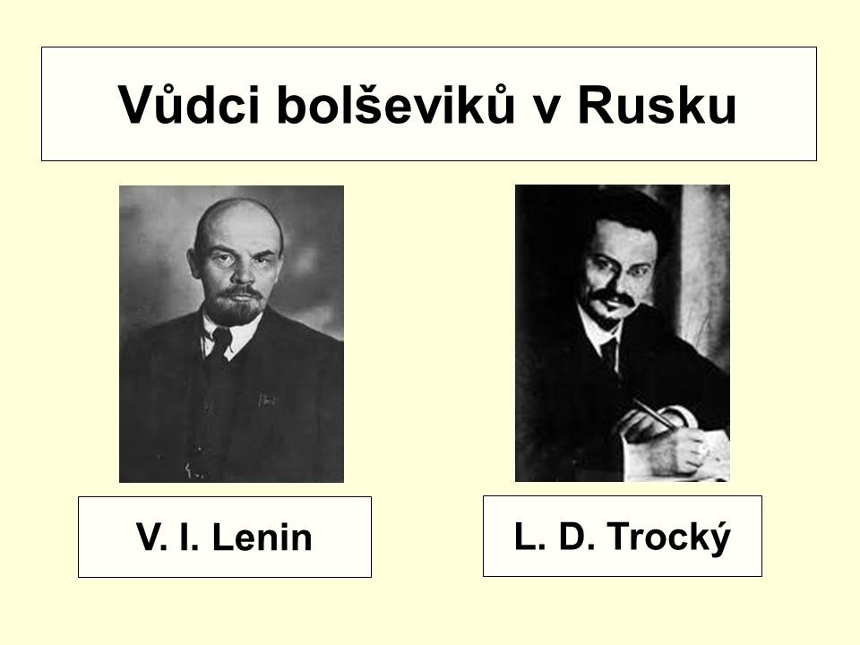 V. I. Lenin L. D. Trocký Vůdci bolševiků v Rusku
