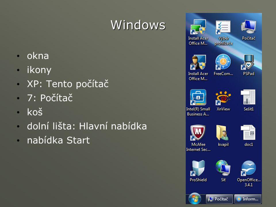 Windows okna ikony XP: Tento počítač 7: Počítač koš dolní lišta: Hlavní nabídka nabídka Start