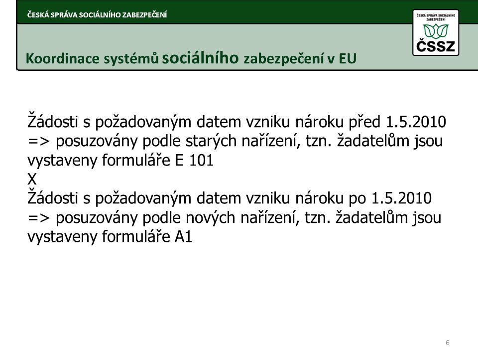 ČESKÁ SPRÁVA SOCIÁLNÍHO ZABEZPEČENÍ ČSSZ aplikuje tato koordinační nařízení pro oblast sociálního zabezpečení vůči 27 státům Evropy (neaplikuje se vůči Norsku, Islandu, Lichtenštejnsku) Nařízení Evropského parlamentu a Rady (ES) 883/2004 o koordinaci systémů sociálního zabezpečení Nařízení Evropského parlamentu a Rady (ES) 987/2009 - prováděcí nařízení Nařízení Evropské rady (EHS) 1408/71 stále v platnosti ČESKÁ SPRÁVA SOCIÁLNÍHO ZABEZPEČENÍ Koordinační nařízení Nařízení Evropského parlamentu a Rady (ES) 1231/2010 - příslušníci třetích zemí